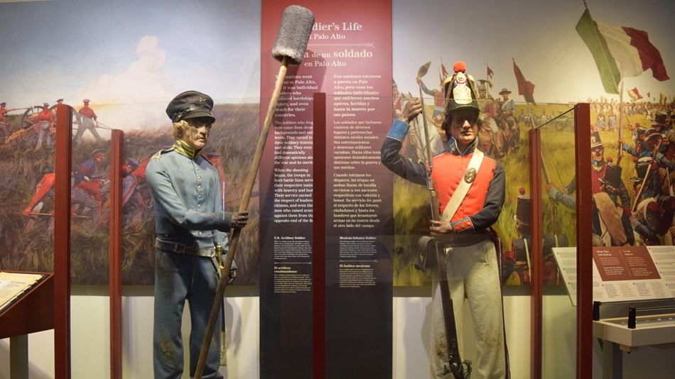 Display of two soldiers. One dressed in 1846 U.S. Army uniform the other Mexican Army uniform
