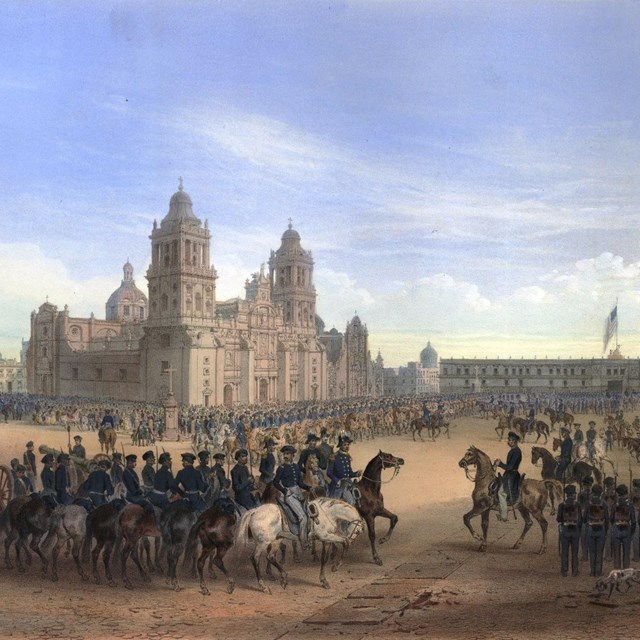 Lithograph of General Scott's entrance into Mexico City.