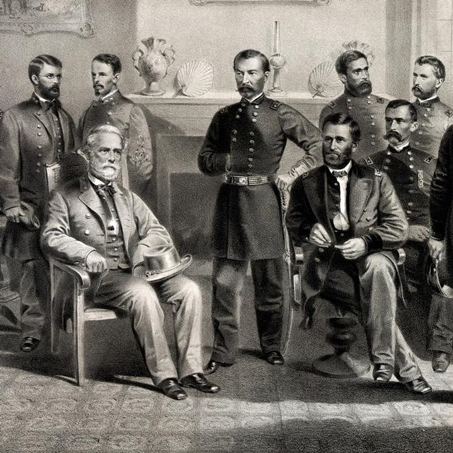 Image of General Lee's surrender at Appomattox.