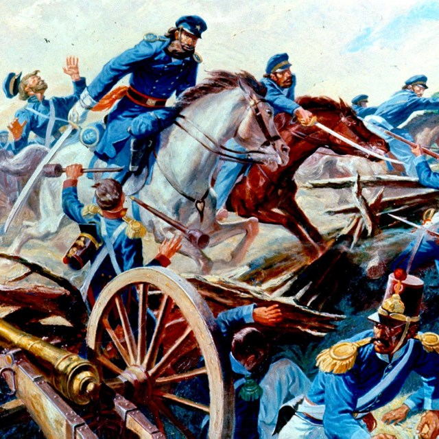Color painting of U.S. dragoons cutting through Mexican artillery placements at Resaca de la Palma.