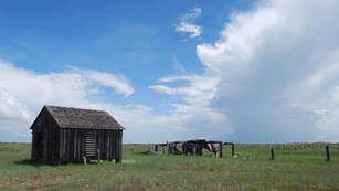 An old wooden building and fence in the grasslands with blue sky and clouds above.