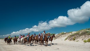 A large group of people on horseback on the beach.