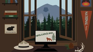 Illustration of a computer on a desk near a window with a mountain outside
