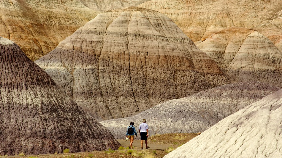 Two hikers walk amidst gray, blue, and purple badlands along a trail