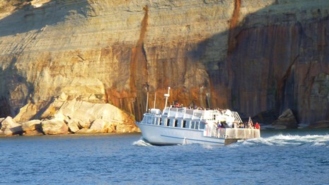 Pictured Rocks cruise boat going past Miners Castle.