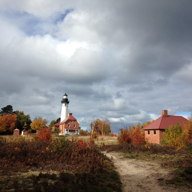 Au Sable Light Station with clouds