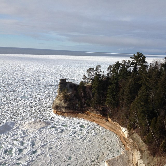 Frozen Lake Superior and Miners Castle rock formation
