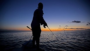 Silhouette of a person standing on a boat fishing at dusk
