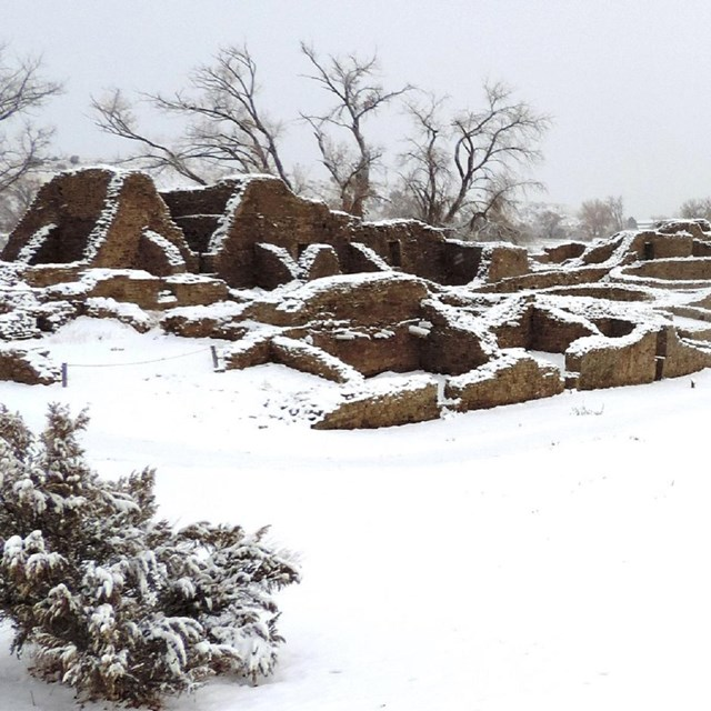 Pueblo ruins covered with snow