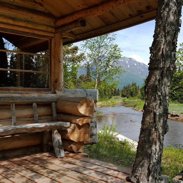 Porch of Alaska cabin overlooking river