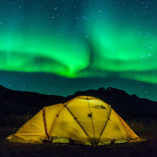 Tent under the northern lights