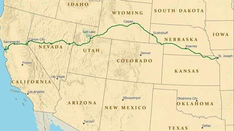 A map of the route of the trail, from Missouri, west to Sacramento, CA.