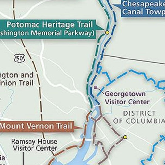 A map illustrating a portion of the Potomac Heritage National Scenic Trail network