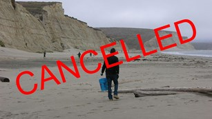 The word cancelled superimposed on a photo of volunteers picking up litter from a beach.