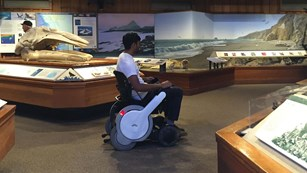 An individual in a wheelchair exploring the Bear Valley Visitor Center.
