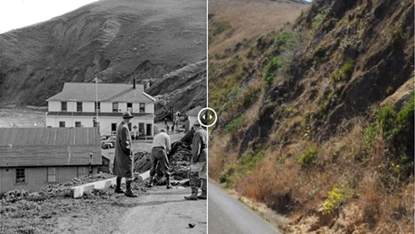A split image of the Point Reyes Boathouse access road in 1956 and in 2019.
