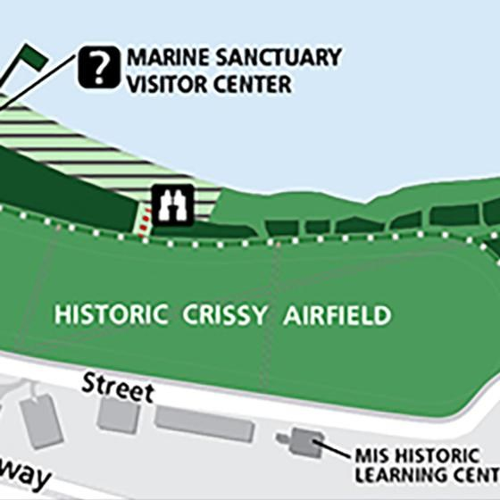 color map of crissy field that show where pets are permitted.