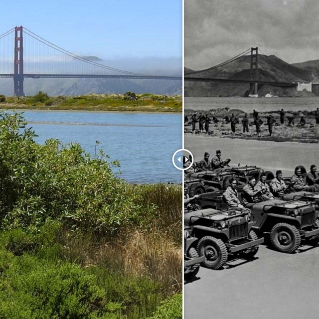old and new photo of crissy field side by side