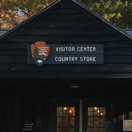 The park visitor center and country store in fall
