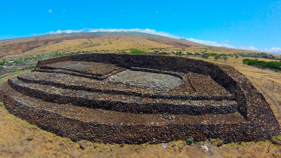 An aerial view of the heiau structure.