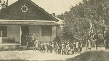 Historic Photo of African Americans in front of School
