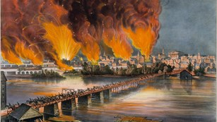 A painting of the skyline of Richmond on fire.
