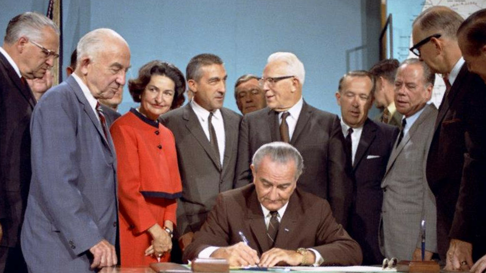 President Lyndon B. Johnson signs the National Wild and Scenic Rivers Act into law.