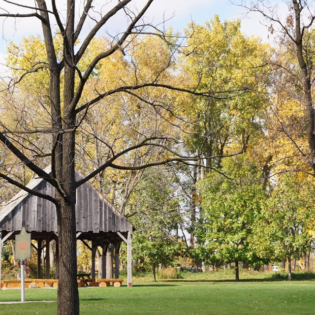 A view of the Pavilion on the Battlefield in the fall.