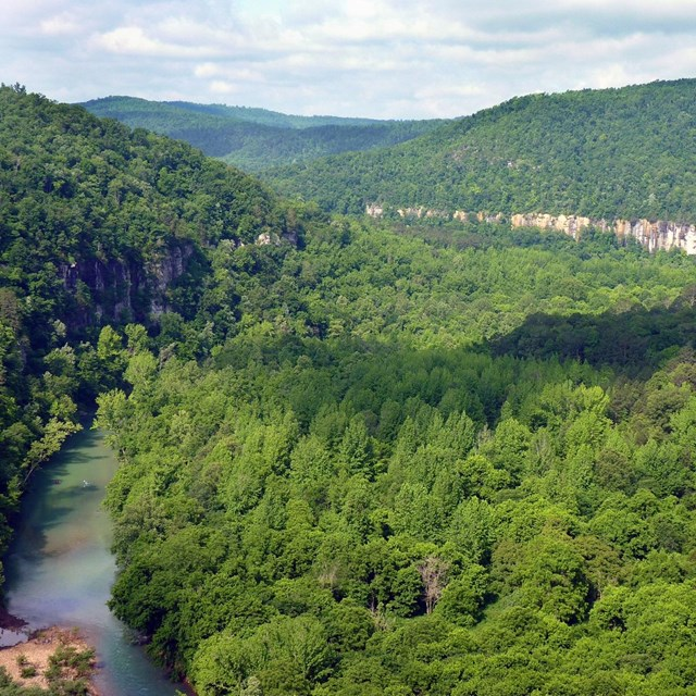 An upper portion of the Buffalo River with Big Bluff in the background.