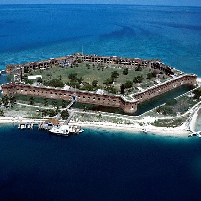 Aerial view of entrance to Fort Jefferson, Florida