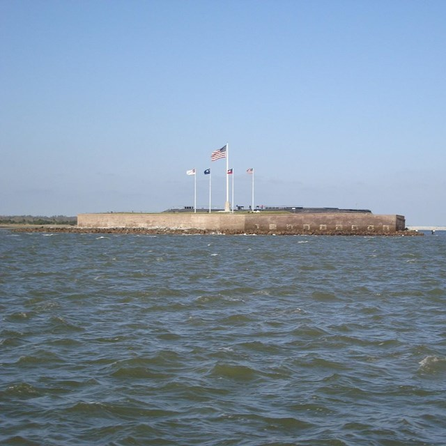 Fort Sumter's right flank and gorge wall as seen from a boat.