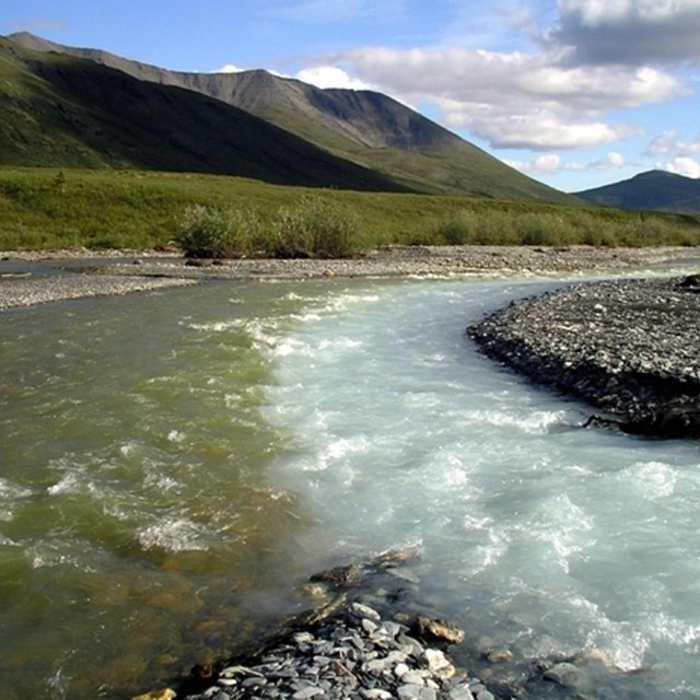 A glacial stream merges with a clear stream in the Noatak River drainage.
