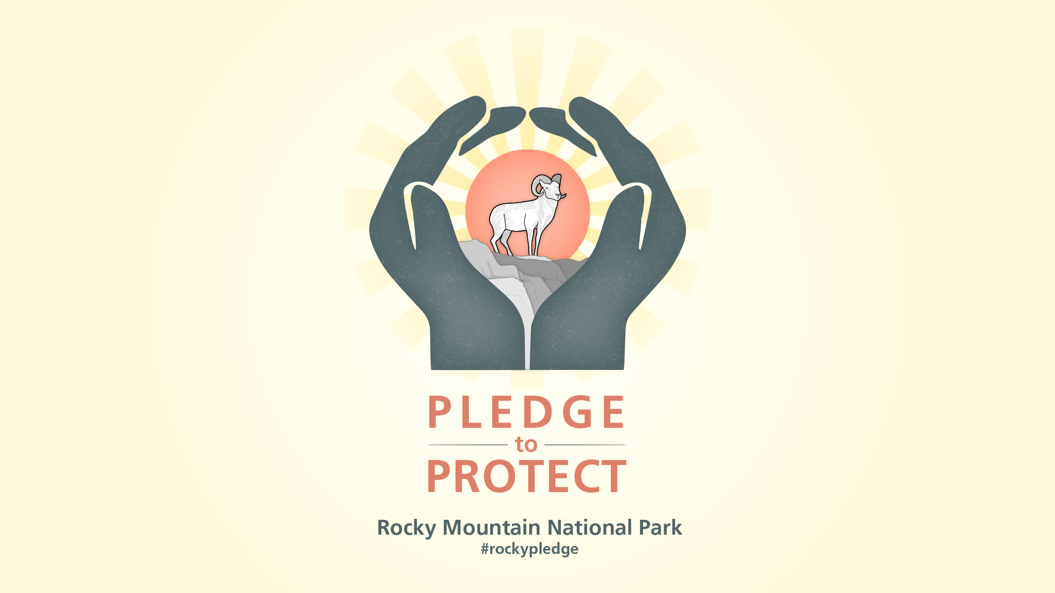An illustrated logo. Hands encircle a bighorn standing on rocks in front of a radiant sun