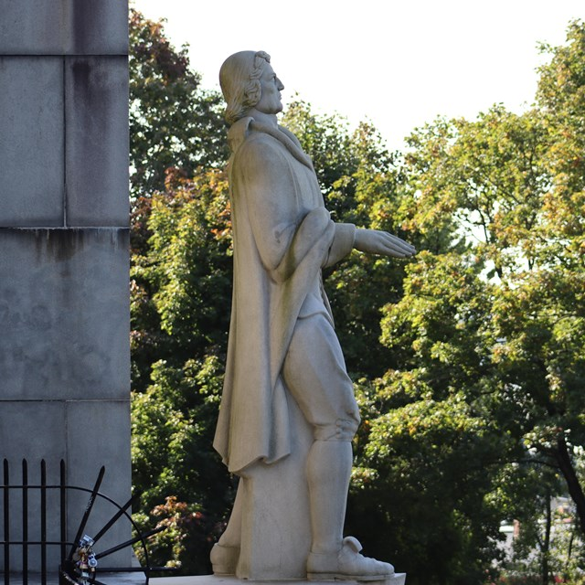Picture of statue representing Roger Williams and Prospect Park