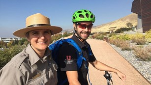 NPS Staff and partner riding bikes