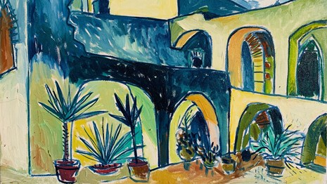 Oil painting of the convento at Mission San Jose, in hues of blue and yellow.