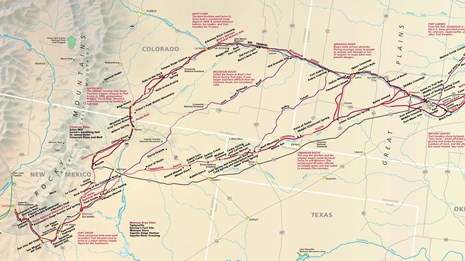 A map depicting a trail from Independence MO to Santa Fe NM.