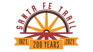 A graphic logo of a wagon wheel with the words Santa Fe Trail 200 years.