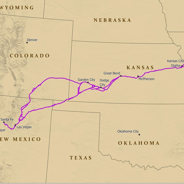 A map depicting a trail from Missouri to Santa Fe, NM