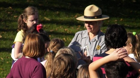 Ranger with school group