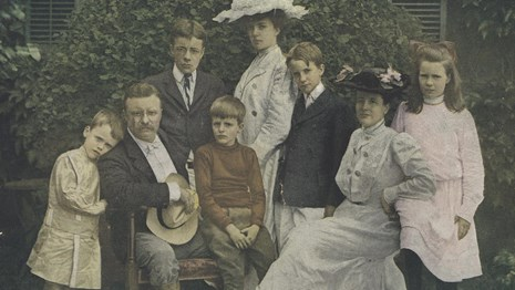 A colorized photograph of the Roosevelt family