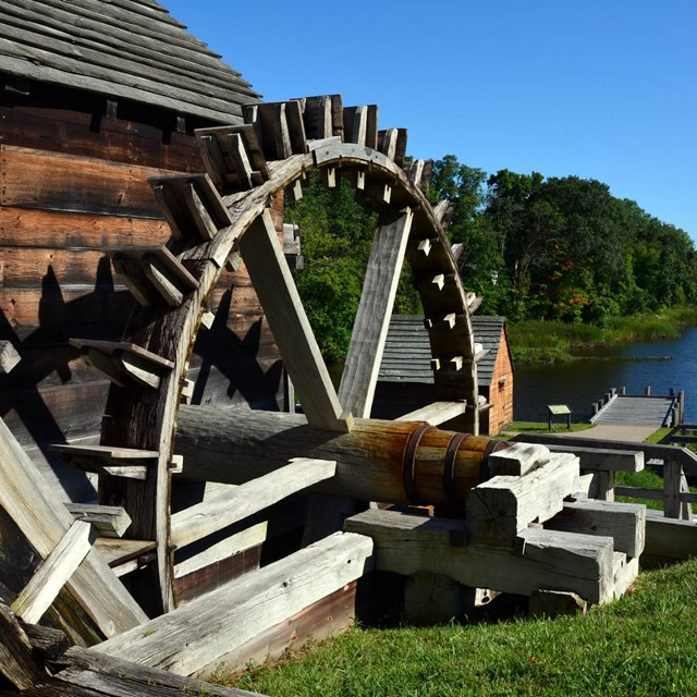 Forge waterwheel with Saugus River in background