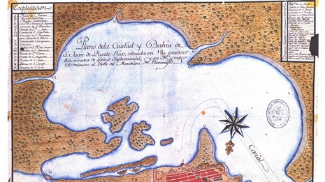 Map of the bay and city from about 1785