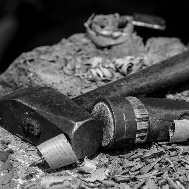 Black and white photo of tools from the parks collections