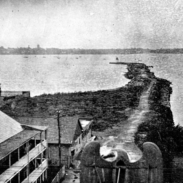 Black and white historic photo of the Derby Wharf