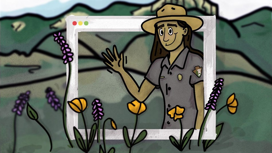 Illustration of ranger waving from in a screen with a mountain in the background.