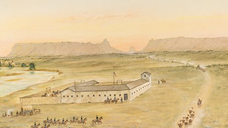 A watercolor painting depicts a fort with soldiers approaching and a gap between two bluffs.