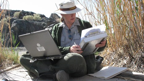 Female park ranger entering data into a computer on a beach