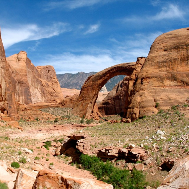 Rock arch formation in a redrock canyon with mountains in the distance.