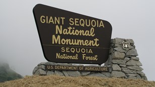 An entrance sign for Giant Sequoia National Monument.